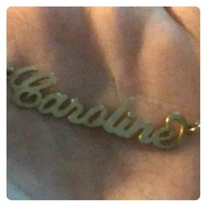 Jewelry - Caroline nameplate necklace in plated yellow gold